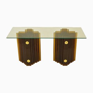 Italian Amber Glass Console of Table by Christal Arte, 1970s