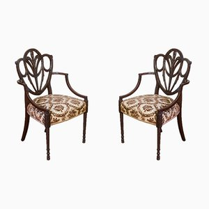 Edwardian Mahogany Armchairs, Set of 2