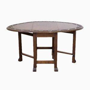 Tavolo vintage in quercia con gambe di canna