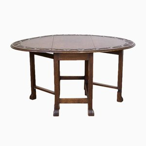 Vintage Oak Gateleg Table with Reeded Legs