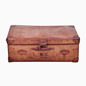 Vintage Brown Leather Trunk, 1920s