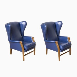 Vintage Blue Leather Armchairs, Set of 2