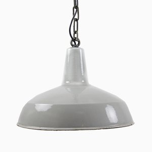 Lampada a sospensione industriale smaltata grigia, anni '50