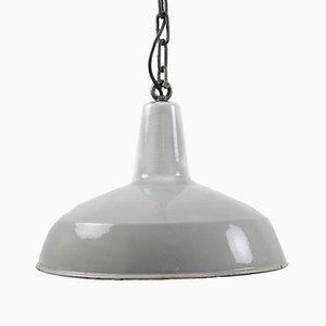 Lampe à Suspension Industrielle en Émail Gris, 1950s