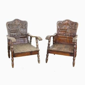 Thai Hand-Carved Wooden Armchairs, 1930s, Set of 2