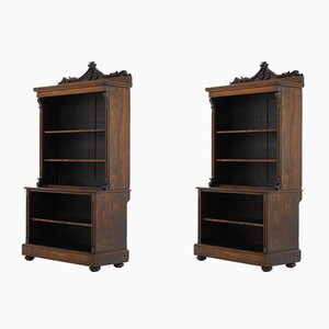 Librerías inglesa de palisandro del siglo XIX. Juego de 2