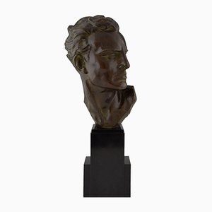 Art Deco Bronze Bust Sculpture by Ugo Cipriani, 1930s