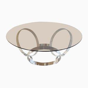Tavolino da caffè Space Age in metallo cromato, anni '70