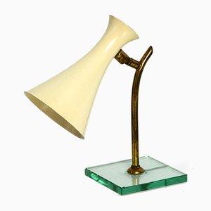 Mid-Century Italian Modern Metal Table Lamp with Glass Base from Fontana Arte