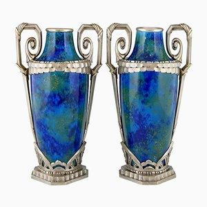 Art Deco Vasen aus blauer Keramik & Bronze von Paul Milet für Sèvres, 1920er