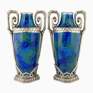 Vases Art Déco en Céramique Bleue & en Bronze par Paul Milet pour Sèvres, 1920s