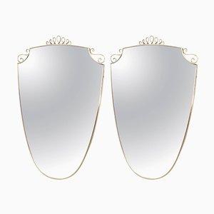 Espejos de pared de latón, años 40. Juego de 2