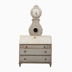 Gustavian Secretaire with Integrated Mora Clock, 1830
