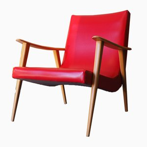 Mid-Century Danish Red Vinyl Easy Chair