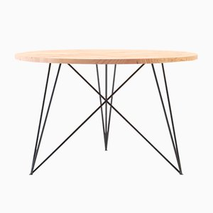 Small Round Oak & Steel Table by Philipp Roessler for NUTSANDWOODS