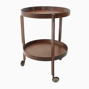 Mid-Century Italian Round Teak Serving Bar Cart, 1960s
