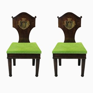 Antique Mahogany Hall Chairs, 1780s, Set of 2