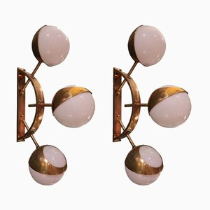 Vintage Brass and Opaline Glass Wall Lights, Set of 2