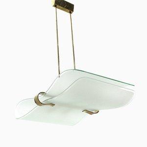 Lampada da soffitto Mid-Century in ottone e vetro di Stilnovo, Italia, anni '60