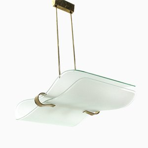 Mid-Century Italian Brass and Glass Ceiling Lamp from Stilnovo, 1960s