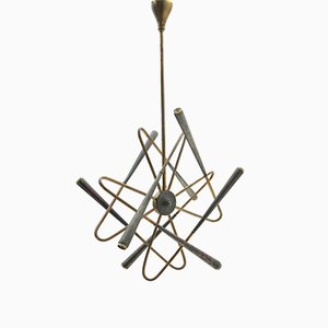 Mid-Century Italian 8-Light Glass Chandelier from Stilnovo, 1950s