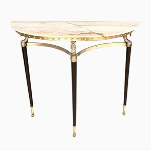 Demilune Console Table with Portuguese Pink Marble Top, 1950s