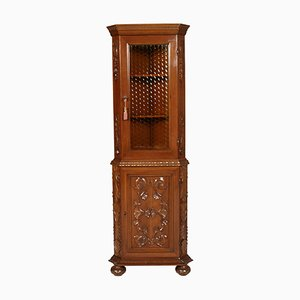 Renaissance Style Carved Walnut Corner Cupboard by Michele Bonciani, 1930s