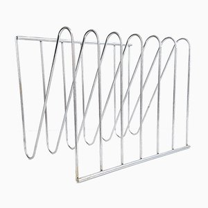 Chrome Magazine Rack by François Arnal for Atelier A, 1970s