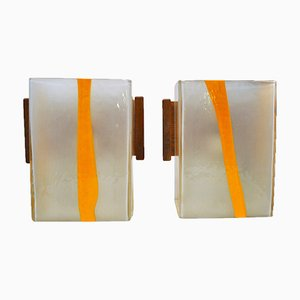 Murano Glass Wall Lamps by Vistosi, 1970s, Set of 2