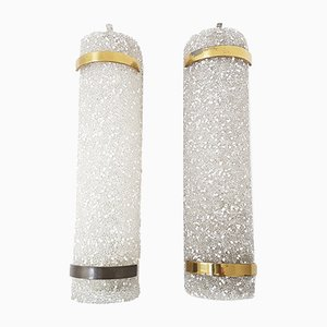 Vintage Granite Resin & Brass Wall Lights, Set of 2