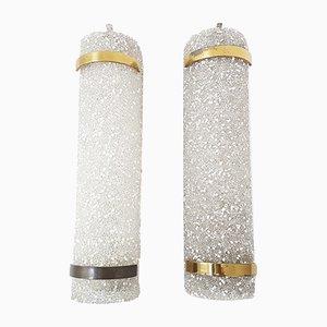 Vintage Wandlampen aus Granitharz & Messing, 2er Set