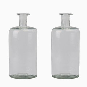 Vintage Glass Pharmacy Jars, Set of 2