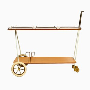 Moderner schweizerischer Mid-Century Rollwagen mit Schichtholzplatten & Messinggestell