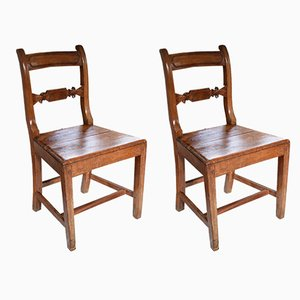 Vintage English Pine & Beech Chairs, Set of 2