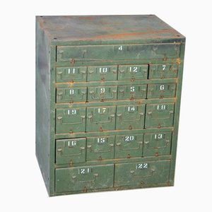 Vintage Industrial Metal Filing Cabinet with 19 Drawers, 1950s