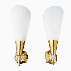 Vintage Wandlampen aus Messing & Plexiglas, 2er Set