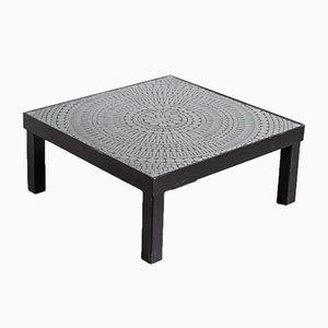 Mesa de centro mosaico de acero y resina negra de Raf Verjans, años 70