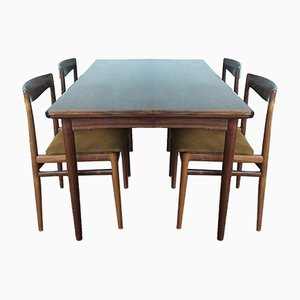 Danish Extendable Rosewood Dining Table and 4 Chairs from Dyrlund, 1960s