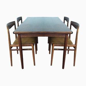 Tavolo da pranzo allungabile in palissandro con 4 sedie di Dyrlund, Danimarca, anni '60