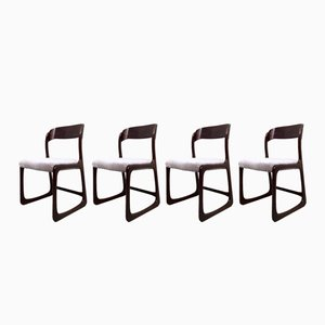 Französische Mid-Century Esszimmerstühle von Baumann, 1950er, 4er Set