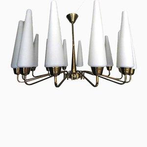 Grand Lustre Soleil Mid-Century avec 14 Luminaires en Verre Satiné Blanc de Arlus, France, 1950s