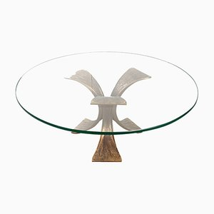 Vintage Bronze & Glass Coffee Table, 1970s