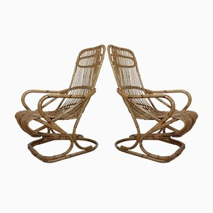 Italian Bamboo Armchairs, 1950s, Set of 2