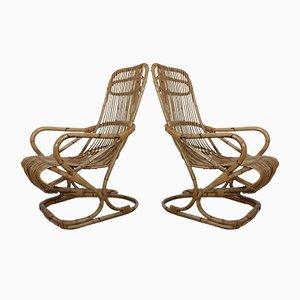 Italienische Armlehnstühle aus Bambus, 1950er, 2er Set