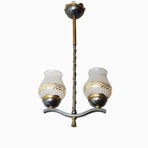 Deckenlampe aus Messing mit vergoldetem Dekor, 1950er