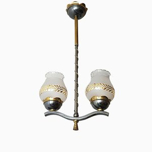Lampada da soffitto in ottone con decorazione dorata, anni '50