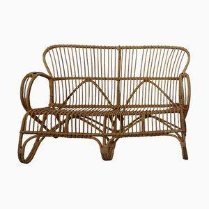 Sofá italiano de bambú, años 50
