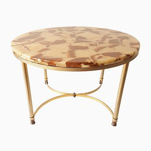 Round Neoclassic Marble & Golden Brass Table, 1970s