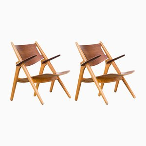 CH28T Armchairs by Hans Wegner for Carl Hansen & Son, 1952, Set of 2