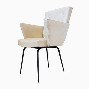 Vintage Sessel mit Gestell aus Stahl & Bezug aus Kunstleder, 1950er
